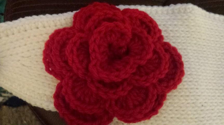 Tunisian headband and flower